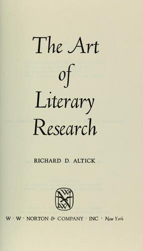 The art of literary research.