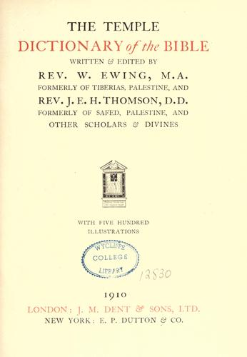 The Temple dictionary of the Bible