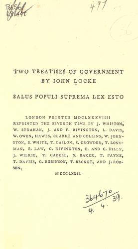 Download Two treatises of government.