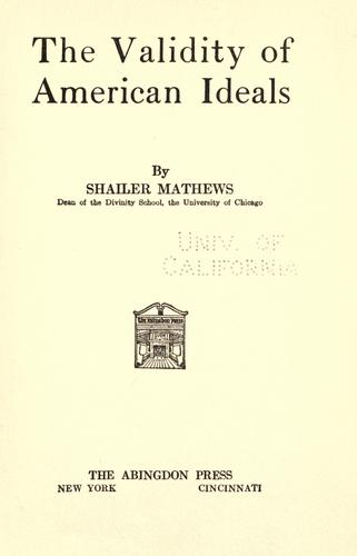 Download The validity of American ideals