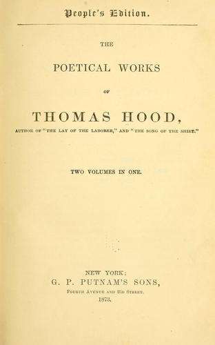 The poetical works of Thomas Hood …