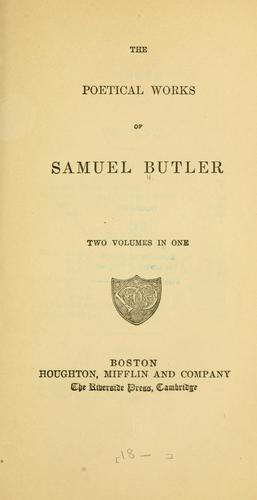 The poetical works of Samuel Butler …