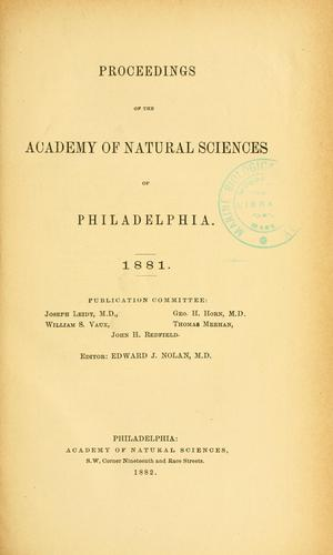 Download Proceedings of the Academy of Natural Sciences of Philadelphia, Volume 33