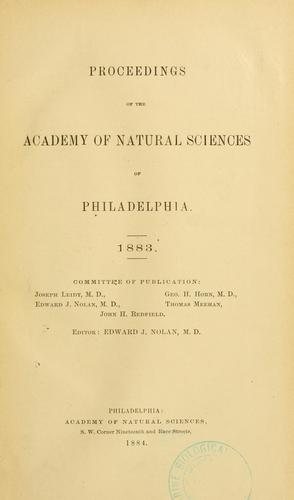 Proceedings of the Academy of Natural Sciences of Philadelphia, Volume 35