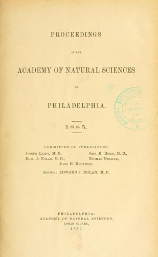 Proceedings of the Academy of Natural Sciences of Philadelphia, Volume 37
