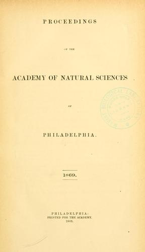 Download Proceedings of the Academy of Natural Sciences of Philadelphia, Volume 21