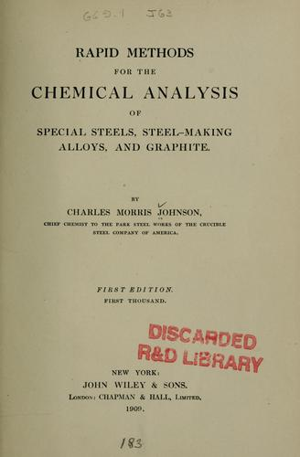 Download Rapid methods for the chemical analysis of special steels, steel-making, alloys and graphite
