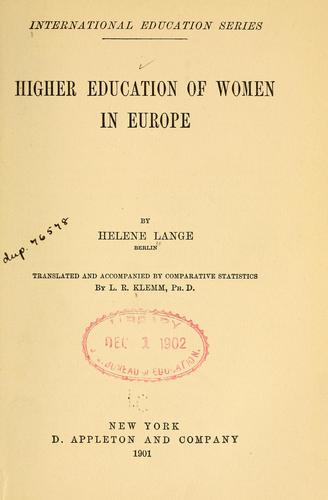 Download Higher education of women in Europe