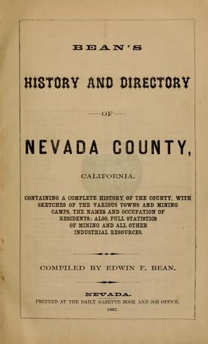Bean's history and directory of Nevada County, California by