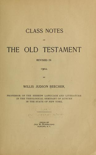 Class notes on the Old Testament by