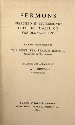 Sermons preached in St. Edmund's College Chapel on various occasions by