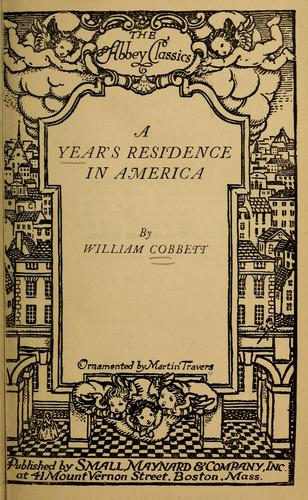 A year's residence in America by William Cobbett