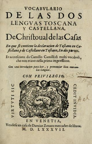 Vocabularo de las dos lenguas toscana y castellana by Cristobal de las Casas