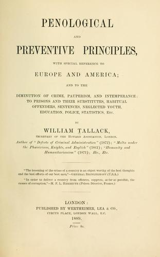 Penological and preventive principles by Tallack, William