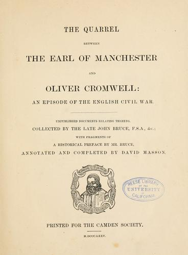 The quarrel between the Earl of Manchester and Oliver Cromwell