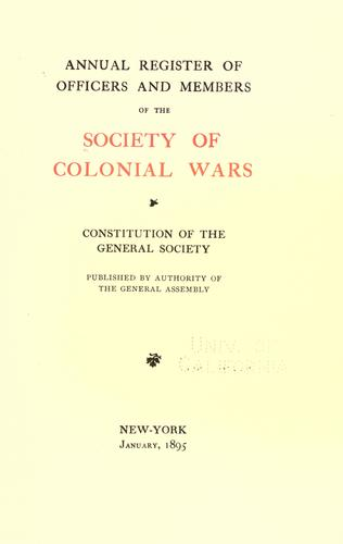 Annual register of officers and members of the Society of colonial wars